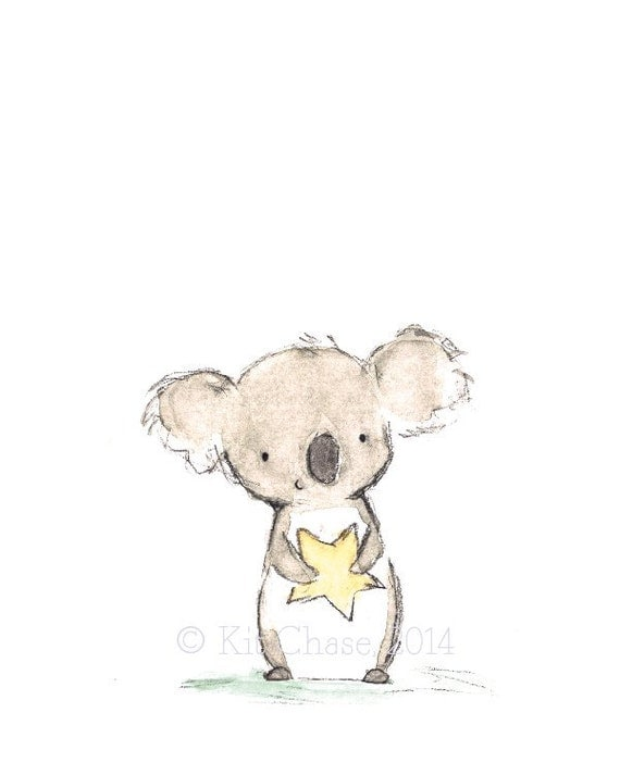 "Children's Art -- ""Star Friend Koala"" -- Archival Print"