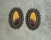Moukaite Jasper Bead Embroidered Earrings