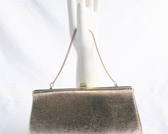 1960's Vintage Gold Lame' Evening Purse with Chain Handle