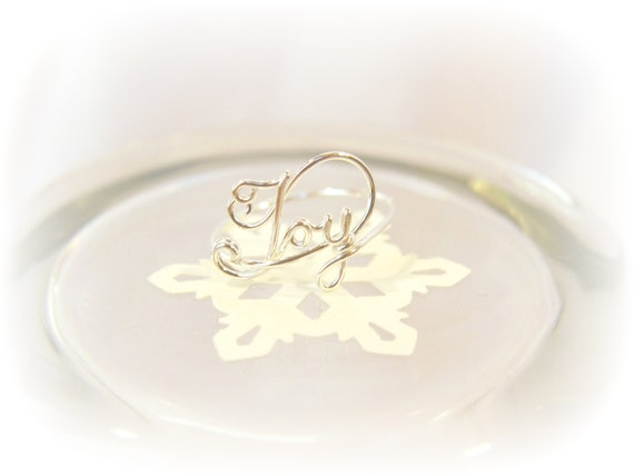 JOY Word Ring in 20 Gauge Sterling Silver Wire