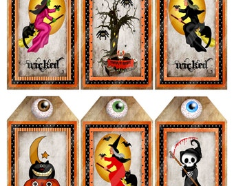 Wicked Witches Of Halloween Printable Tags Digital Download Image 1138