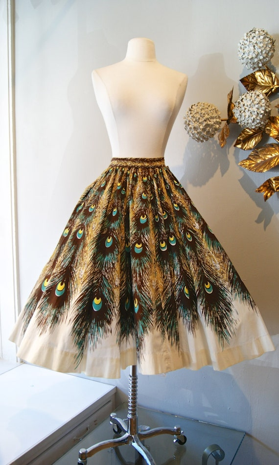50s Peacock Print Circle Skirt Vintage 1950s Novelty Print