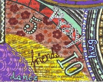Handmade Bookmark -- Fiesta of Timelessness -- Laminated Original Art  Print Beaded Tassel -- 2.25 x 7 inches -- BKM-ORG-8