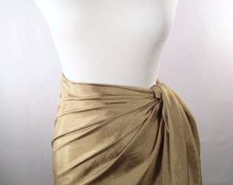 Mini Sarong - Short Pareo - Crinkled Silky Satin -  Antique Gold Sarong - Swimsuit Cover up - Beach Skirt - Beachwear