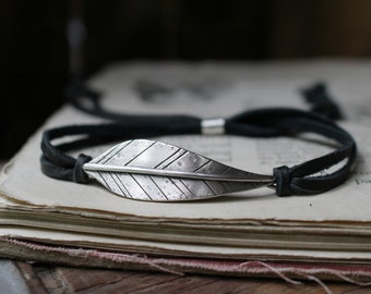 sterling silver woodland leaf and leather or suede bracelet ~ STRENGTH or your custom stamped message