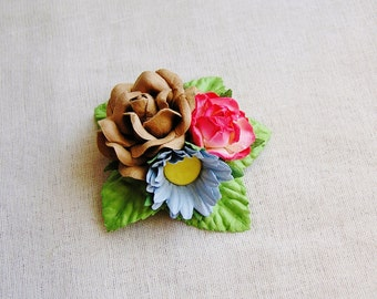 Strawberry Malt blue Rose daisy Mixed bunch Vintage style Millinery Flower spray Bouquet- corsage, holiday wrap, floral shabby chic OOAK