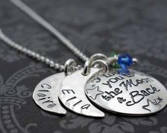 I Love You to the Moon & Back Necklace - TWO Children's Names Design - Personalized Jewelry in Sterling Silver