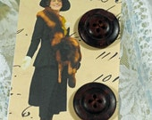 Hang Tag, Gift Tag  - Button Card - Lady in Fur  - Antique Heavy Buttons  - Gift Tag - Book Mark