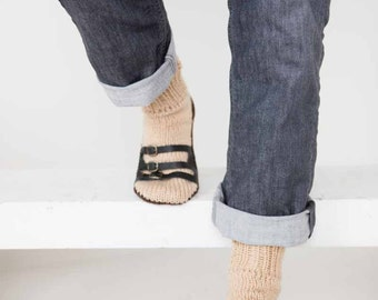 Mens Slipper Socks Mens Knit Slippers Tan Dark Brown Sandal Sock Mens House Slippers Mens Knit Socks Leather Straps