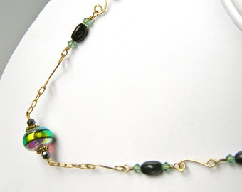 SALE - Iridescent Green and Black Art Glass and Gold Link Necklace
