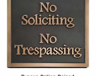 Almost Square No Soliciting Plaque 11x10 made in the USA by AtlasSignsAndPlaques