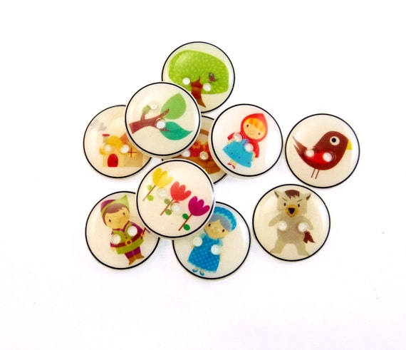 """10 SMALL Red Riding Hood Buttons. Handmade Buttons. Children's sewing buttons. 1/2"""" or 13 mm."""