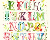 Alphabet Poster Print | Watercolor Typography | Nursery Decor | Colorful Lettering | Katie Daisy | 8x10 | 11x14