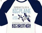Airplane big brother to be shirt someday i'll fly a big plane RAGLAN shirt - perfect pregnancy announcement raglan shirt