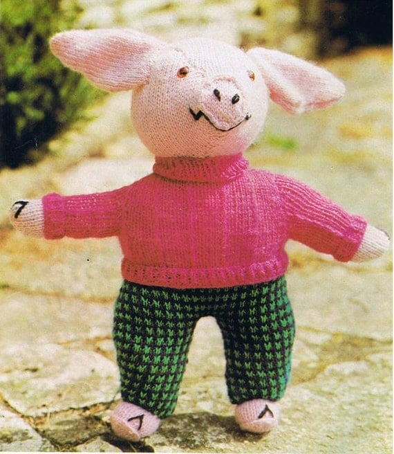 Knitted Pig. Knitted Toy. Digital Knitting Pattern