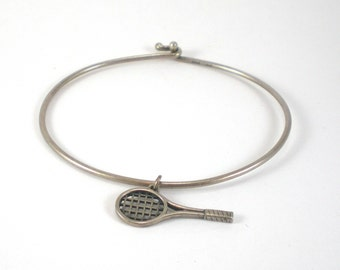 Tennis Racket Charm Bracelet Avery Sterling Silver Vintage Jewelry