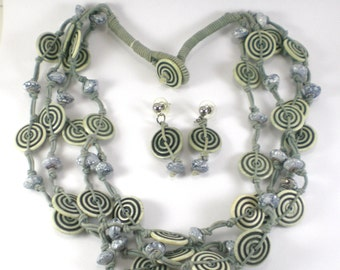 Gray Blue Lucite Geometric Necklace Earrings Set Vintage Jewelry