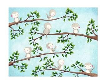 """art print - children's wall art - summer - flowers - birds - water colour - """"A Place to Gather - Summer"""""""