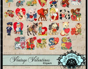 Vintage Valentines, Printable Valentines, Valentine Clipart, Scrapbook,  Clipart, Retro Valentines