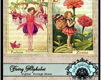Fairy Alphabet Printable, Printable ABC, Printable Fairy Alphabet Banner, Fairy Alphabet Digital Collage Sheet.