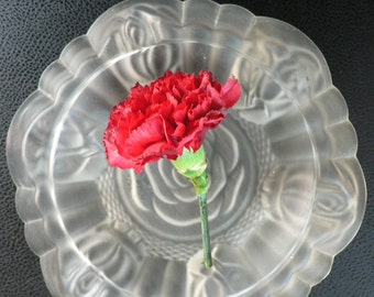 European Art Deco clear glass ashtray /1930s glass  bowl / frosted glass flower pattern/ Czech bohemian glass