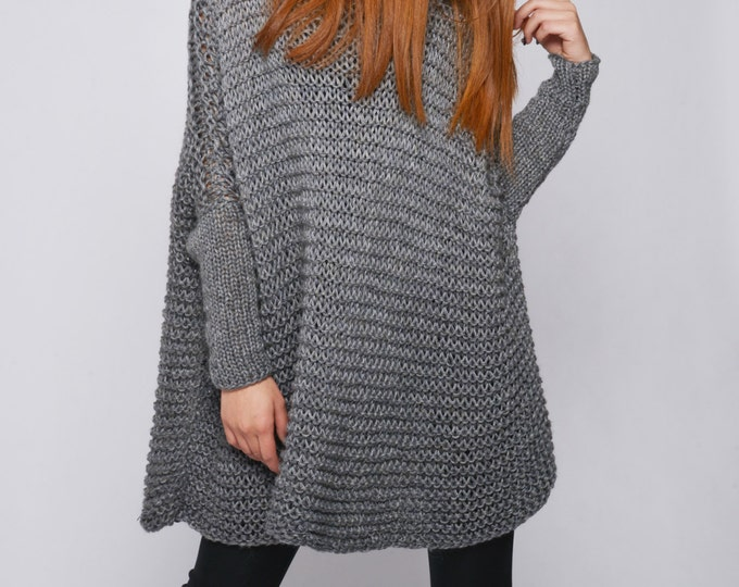 OVERSIZED Woman sweater/ Knit sweater in charcoal