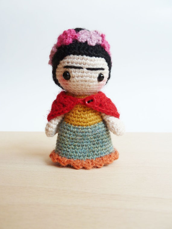 Amigurumi Monster Free Pattern : Frida Kahlo cute pocket amigurumi doll.