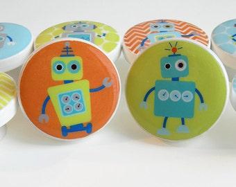 Robot Drawer Knobs, Orange, Green, Robot Drawer Knobs,Robot Knobs, Chevron Robot Knobs - Wood Knobs- 1 1/2 Inches -Made-to-Order