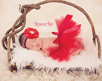 Red baby headband tutu set { Cherry Red } Red tutu, Christmas, patriotic Valentines Day, newborn tutu, birthday cake smash, photography prop