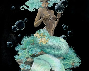 Mint Green Mermaid - 8x10 print