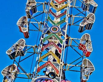 The Zipper Carnival Ride Fine Art Print- Carnival Art, County Fair, Nursery Decor, Home Decor, Children, Baby, Kids