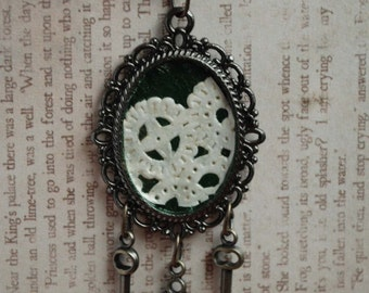 Green and Lace Necklace with Keys