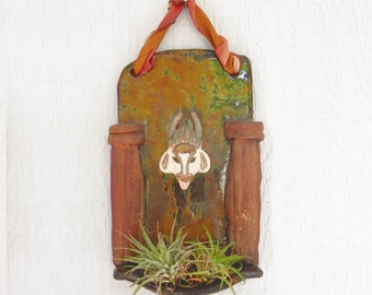 Sacred Cow Altar Sculpture Air Plant Planter Miniature Shrine Wall Art Hanging Original Folk Rustic Home Decor