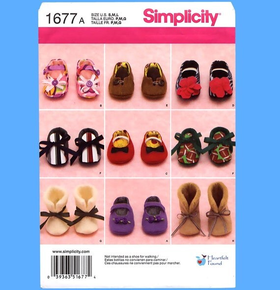 582 - Baby Shoes & Booties, sizes S M L, Heartfelt Found Sewing Pattern, Bran New, Uncut Simplicity 1677