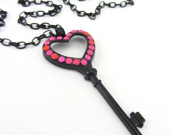 Neon Pink Key To My Heart Necklace