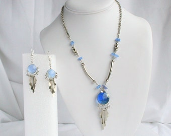 Blue Southwestern Necklace Earrings Set Vintage Round Blue Glass Silver Spoon Drops Pierced Dangles