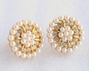 Pearl Rhinestone Earrings Vintage Napier Pinwheel Clip on Screwback