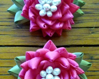 Set of 2 Fuchsia Ribbon Flower Barrettes