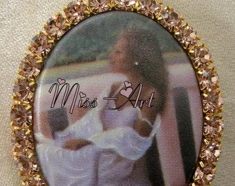 African American Lady Relaxing Vintage Brass Locket Porcelain Cameo Necklace Antique Pink Glass Rhinestones Miss-art SparklingTreasures2U