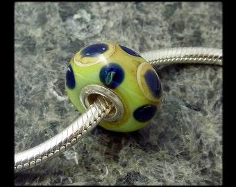 Handmade Lampwork European Charm Bracelet Bead with Sterling Silver Rivets - big hole bead - large hole bead - OOAK - BD256