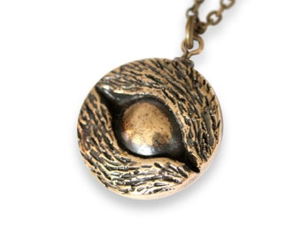 Eye of the Wolf Protection Amulet Necklace in Solid Bronze 361