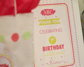 ABC ALPHABET Kids Birthday Party Printable 8x10 Welcome Sign - Pink and Green