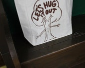Tote bag recycled cotton tree hugger brown ink grocery bag beach bag with pocket canvas bag screen printed
