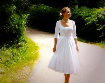 Miss Judith's Swiss Dot Garden Wedding Dress ~ in cotton swiss dot with pockets ~ full circle skirt ~ sleeves and deep u-neckline