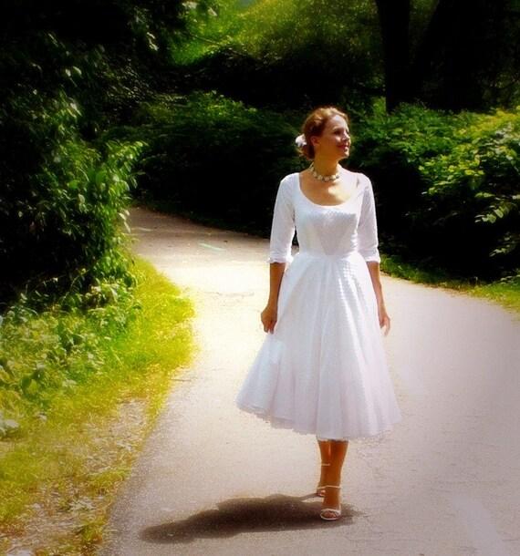 Miss judith 39 s swiss dot garden wedding dress in cotton for Dotted swiss wedding dress