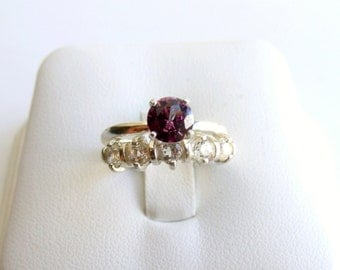 Wedding Ring Set Alexandrite White Topaz Sterling Silver June Birthstone Made To Order