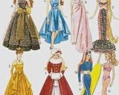 BARBIE DOLL Clothes Sewing Pattern - Gowns Stole Hats Muff Bikini Fashion Dolls