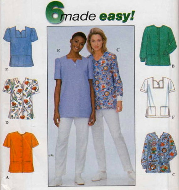 Plus size scrubs sewing pattern six easy medical by for Spa uniform patterns