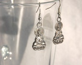 Little budda earrings, small, made of metal bead in a shape of budda