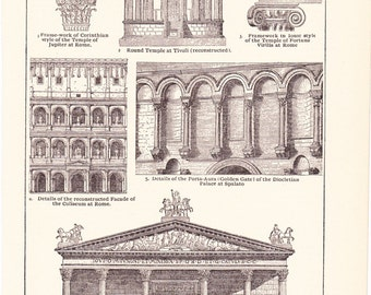 1902 Architecture Print - Vintage Antique Home Decor Art Illustration for Framing 100 Years Old